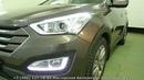 Hyundai Santa Fe III тюнинг фар, ремонт светодиодов в штатных ДХО, установка светодиодных би линз