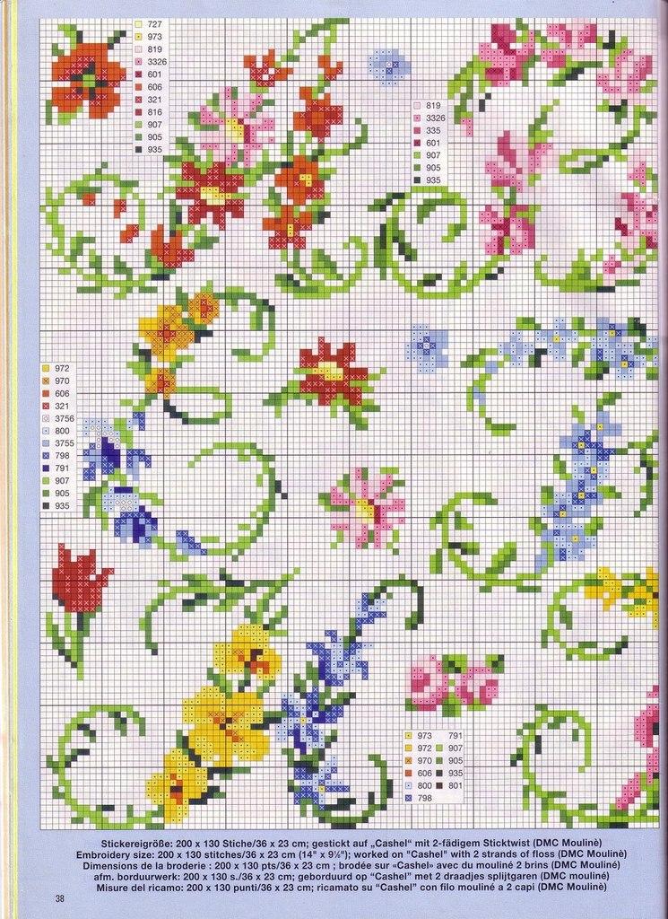 Цветочный алфавит вышивка
