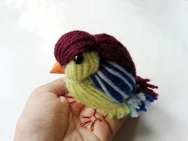 Птичка-синичка из пряжи. Мастер-класс