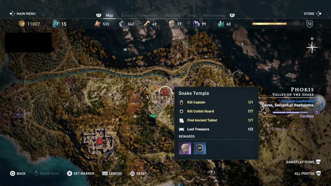 храм змеи в городе Фокид в Assassin's Creed Odyssey