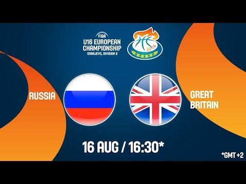 LIVE 🔴 - Russia v Great Britain - Quarter-Finals - FIBA U16 European Championship Division B 2018