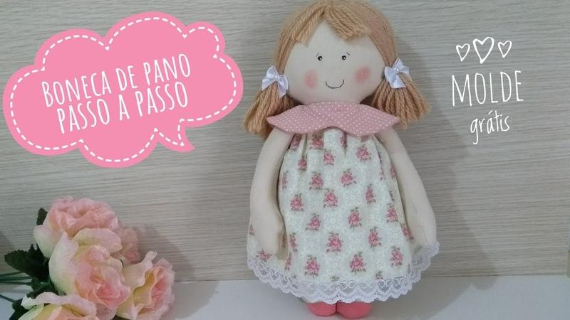 ❤️ Boneca de pano fácil passo a passo com molde cloth doll with mold ❤️