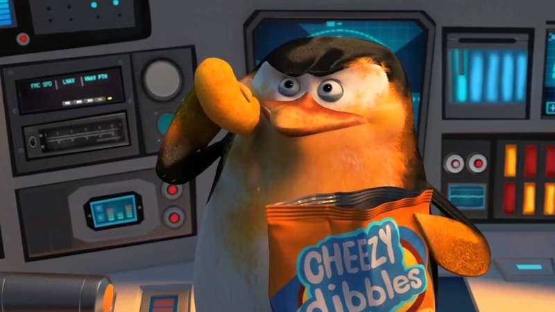 Skipper chewing Cheezy Dibbles