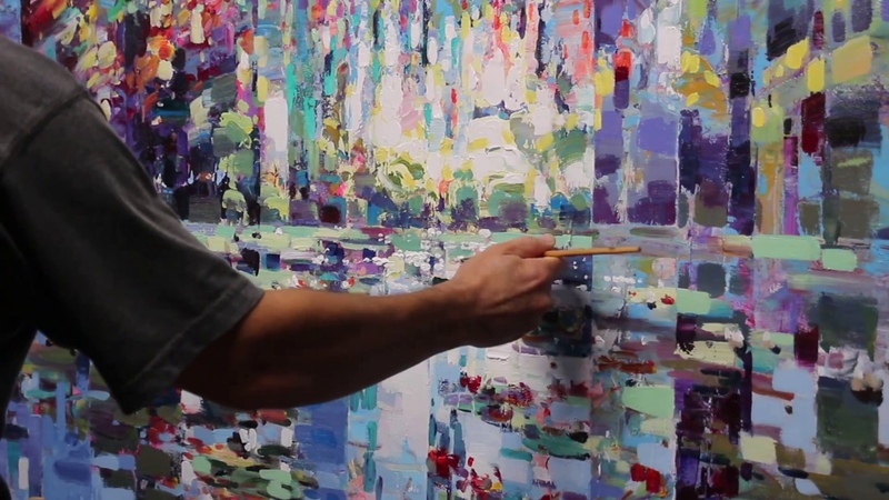 Pond of illusion 48x60 painting process