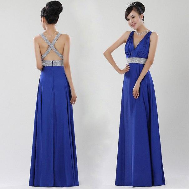 Синее платье с открытой спиной фото