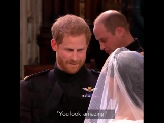 """You look amazing. I'm so lucky."" Prince Harry greets his beautiful bride Meghan Markle."