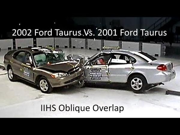 2001 Ford Taurus Vs 2002 Ford Taurus IIHS Oblique Overlap Frontal Crash Test