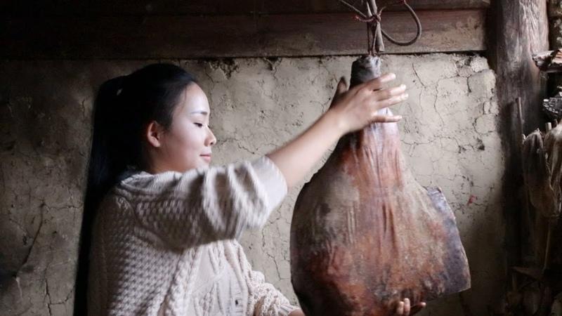 卸了今年最后一只火腿做个豌豆火腿焖饭,犒劳一下自己和家人【滇西23567