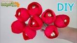 Красные тюльпаны из гофрированной бумаги с конфетой Мастер-Класс