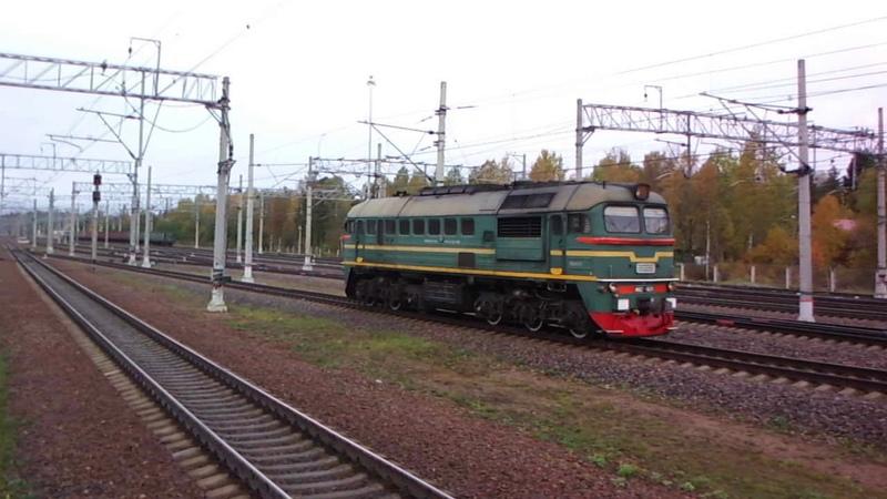 Маневры тепловоза М62-1631 на станции Зеленогорск