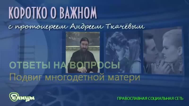 Подвиг многодетной матери. о. Андрей Ткачев. Коротко о важном (1)
