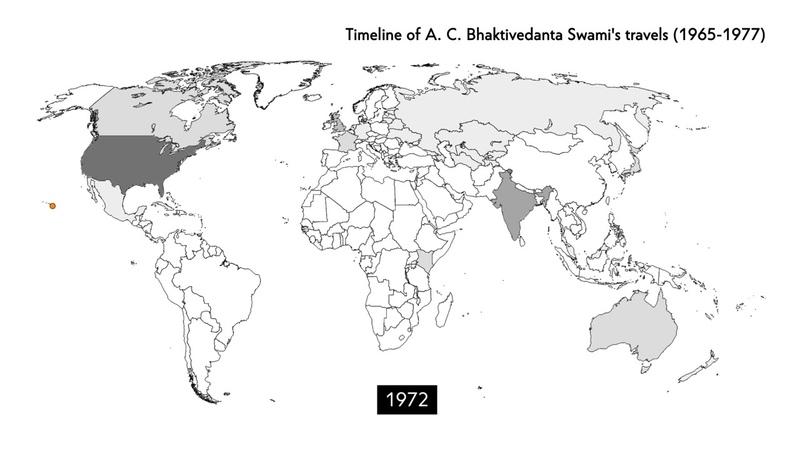 Карта поездок Шрилы Прабхупады 1965-1977