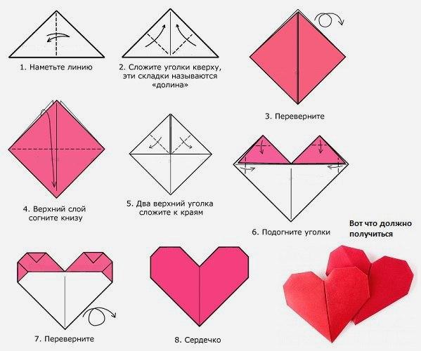 Валентинки из оригами своими руками