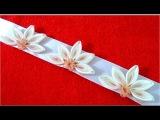 Diademas con flores margaritas medias lunas en cintas de organza para el cabello