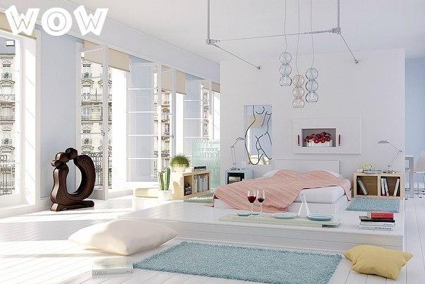 очень красивая спальня в белом цвете