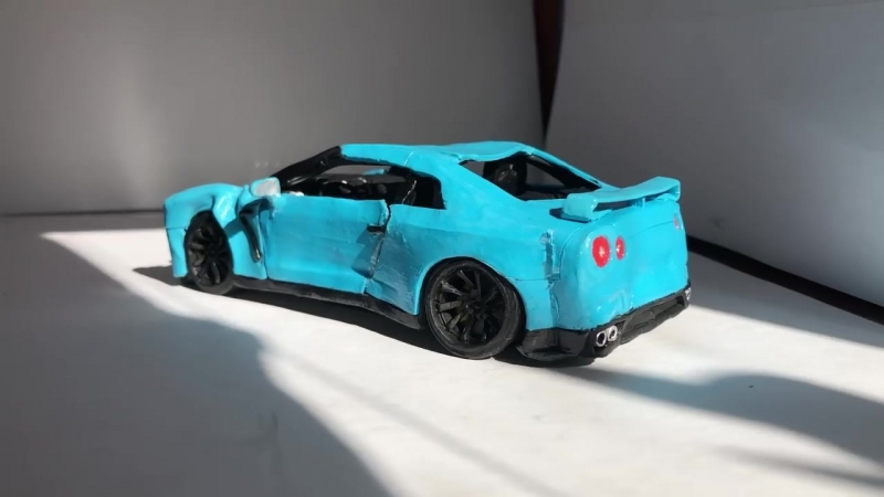 [Handmade] Краш тест Nissan GTR из Пластилина