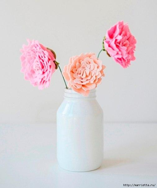 Розовые ПИОНЫ из фетра (9 фото) - картинка