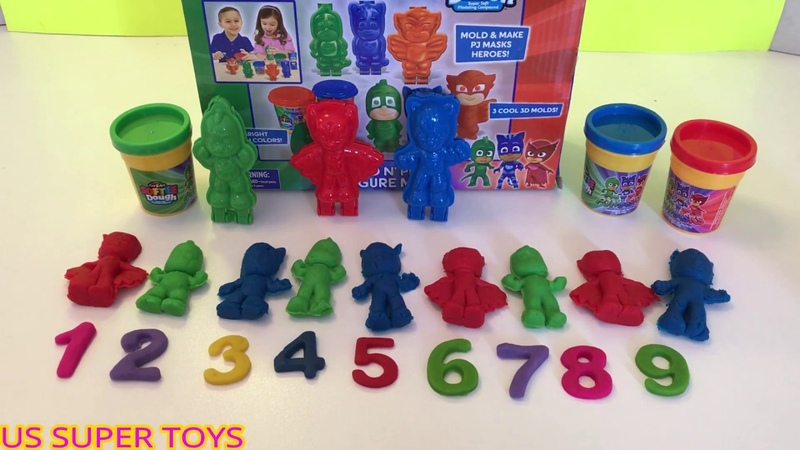 Learn Numbers and Colors With PJ MASKS MOLDS PLAY DOH ! US SUPER TOYS