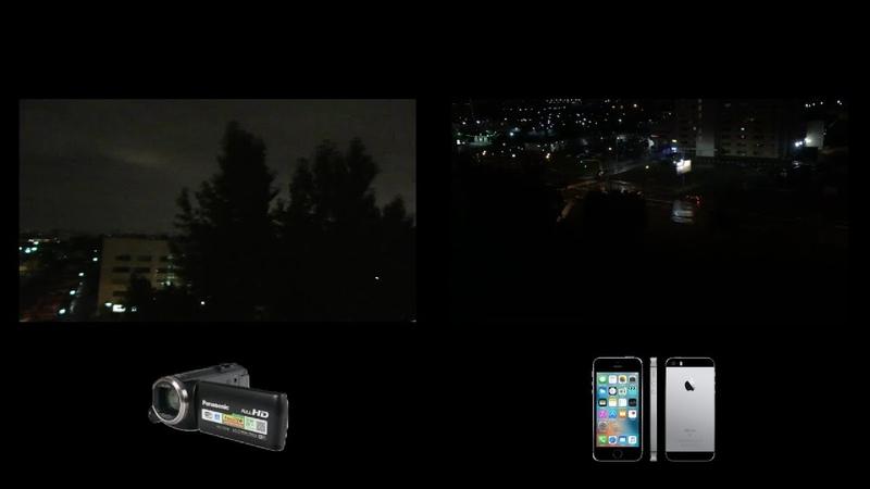 Iphone SE или Panasonic HC-V270 съемка ночью.