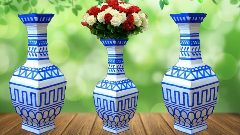 How to make flower vase flower vase with cardboard easy vase making dustu pakhe