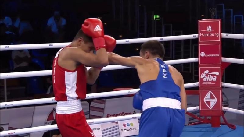 56 кг AKHMADALIEV Murodjon Узбекистан vs YERALIYEV Kairat Казахстан , ЧМ по боксу , Гамбург 2017 г
