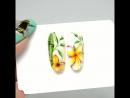 Плюмерия и бамбук ручная роспись 🌿🌸 Гель лак Nail art🎨🖌️