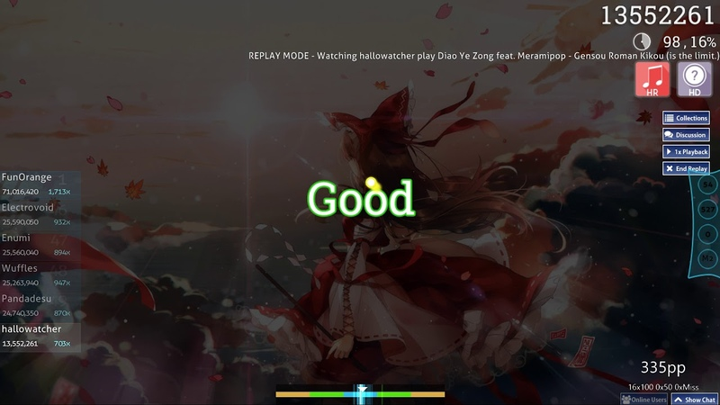 Osu!   hallowatcher   Diao Ye Zong Meramipop - Gensou Roman Kikou [Extra] HDHR 98.19 4❌ 436pp 1
