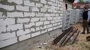 ЖБ фундамент впритык к старому дому. Пеноблок на забивных сваях.