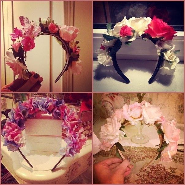 Как сделать ободок из цветов на голову