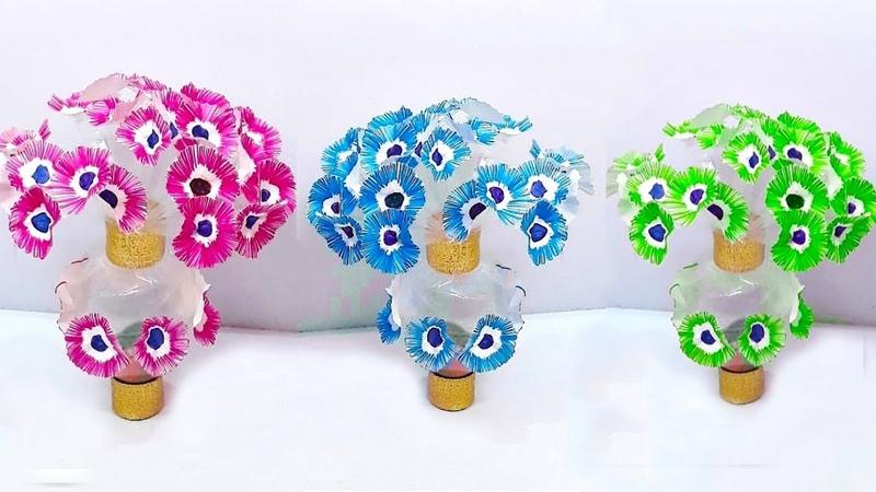 Guldasta with paper flowers and plastic bottle at home | DIY paper Flower Guldasta