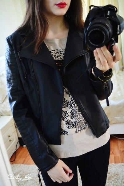 Куртка-косуха на весну из ПУ кожи.