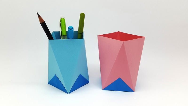How to Make Easy Origami Pen Holder | Paper Pen Stand | Paper Pencil Holder