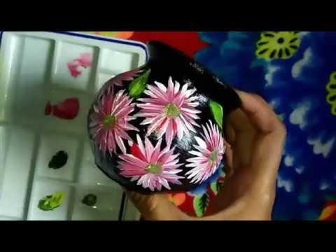 Easy one stroke art simple flowers pot painting decoration idea