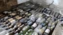 Заливка стяжки пола с стеклянными бутылками