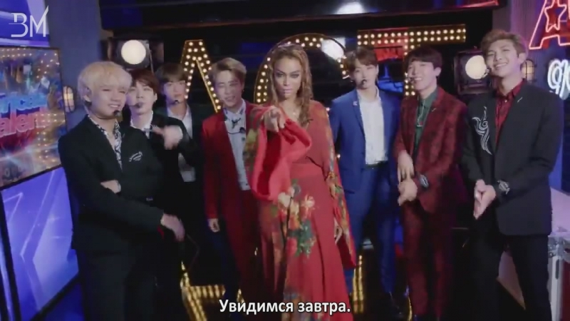 RUS SUB 12 09 18 BTS and Tyra Banks Show Off Their Idol Dance Moves @ America's Got Talent 2018