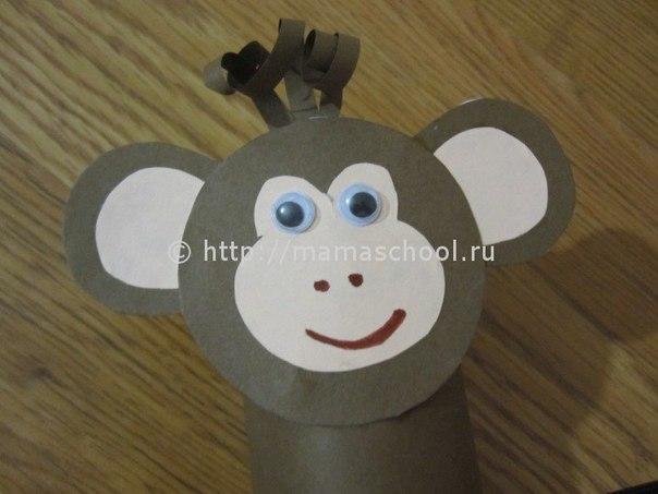 Как сделать обезьянку из бумаги и картона