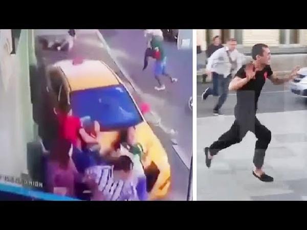 Киргиз на такси врезался в толпу людей и пытался сбежать в центре Москвы 2018