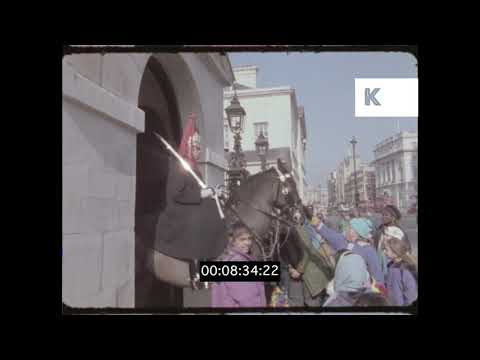 Whitehall, The Cenotaph, Admiralty Arch, 1990s London in HD