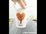 Осенняя кружечка с декором из полимерной глины