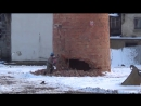 Nerves of steel - demolition of the chimney with a Pneumatic Hammer