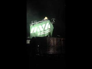 Mike Shinoda of Linkin Park thanks Paul Rieckhoff of IAVA.org in Irvine, Ca