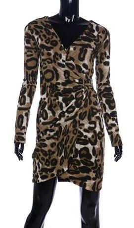 модное платье с леопардовым принтом 201402015 на манекене черном смотрите фото