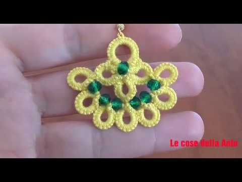 52' TUTORIAL FACILE ORECCHINI PERLE CHIACCHIERINO AD AGO EASY EARRINGS NEEDLE TATTING FRIVOLITE'