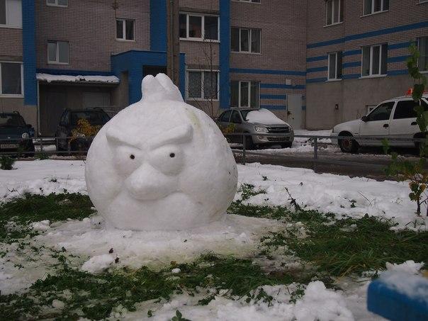Как сделать птицу из снега