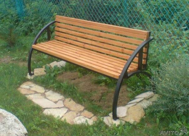 Садовые скамейки из профильной трубы своими руками фото