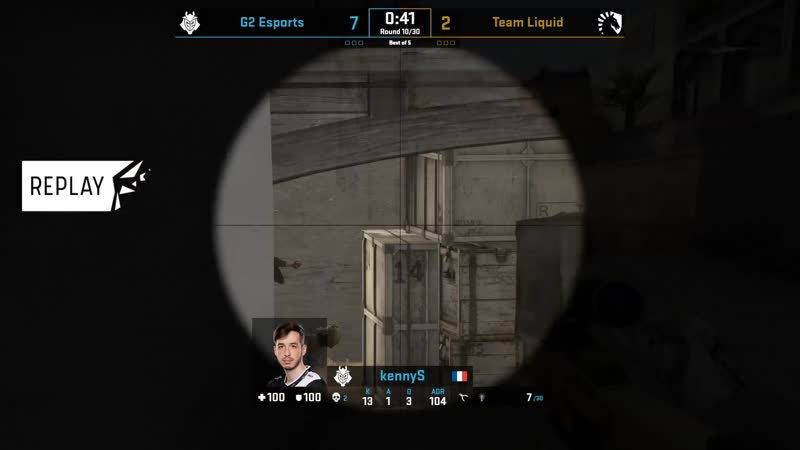 KennyS snipes down three on the defense (Dust2)