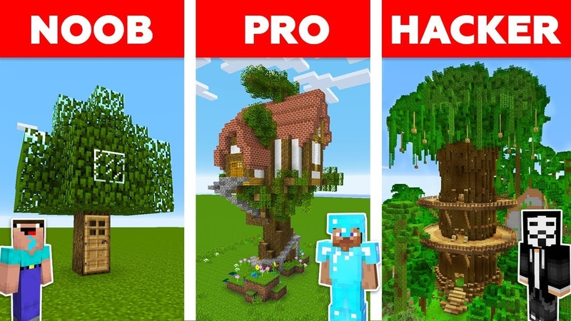Minecraft NOOB vs PRO vs HACKER : TREE HOUSE CHALLENGE in minecraft / Animation