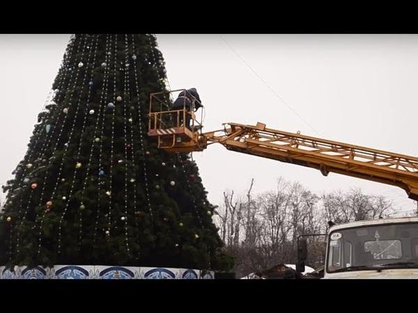 Новорічний вандалізм у Борисполі пошкоджено головну ялинку міста