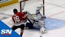 Louis Domingue Robs Patrick Kane With Flailing, 1985-style Vintage Save