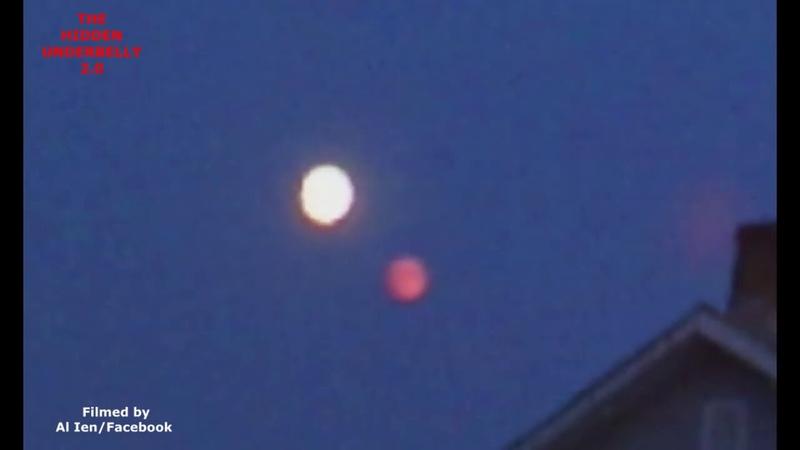Красный объект рядом с луной над Атгленом, Пенсильвания. 24 августа 2018г.